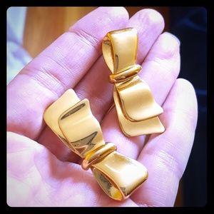 Vtg Monet Bow Earrings
